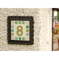 """""""Pink Roses"""" Mosaic Iron & Tile House Number Sign"""