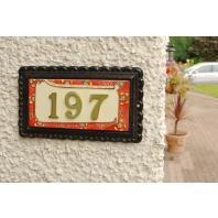 """Scarlett Garden"" Large Black Iron & Ceramic House Sign"