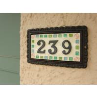 """""""Rose Mosaic"""" Large Black Iron & Ceramic House Sign"""