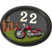 "Hand Painted ""Classic Cruiser"" Motorbike House Sign"