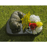Pet Memorial & integral vase 'Dog at rest'
