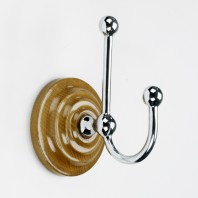 Bright Chrome Hook on wooden backplate