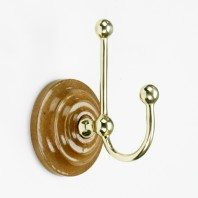 Polished Brass Hook on wooden backplate