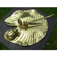 Polished Brass 'Lily Pad & Bullfrog' Sundial - 210mm