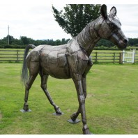 """Brigadier Gerard"" Horse sculpture hand made in fabricated steel"