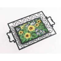 Garden of Sunflowers Iron & Ceramic Tray