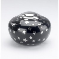 Medium black and silver star urn