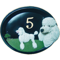 House Number - Hand Painted - Poodle - House Sign