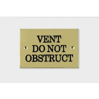 "Solid Brass Plaque With Black Lettering Label ""vent do not obstruct"""