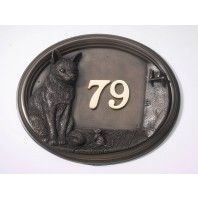 Taryn Cat & Mouse House Number Plaque Bronze Finish