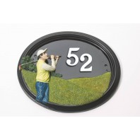 """Swinley Hill"" Hand Painted Golfer House Sign"