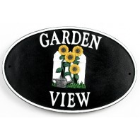 """Garden Sunflowers"" Cast Iron Effect House Name Sign"