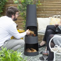 """Caliana Bay"" Black Garden Chimenea"