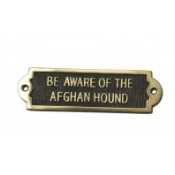 Brass Afghan Hound Beware of the Dog Sign