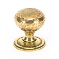 Aged Brass Hammered Mushroom Cabinet Knob - 32mm
