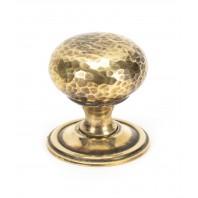 Aged Brass Hammered Mushroom Cabinet Knob - 38mm