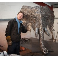 """Emanti"" Hand Sculpted Elephant Head with Stainless Steel Tusks"