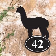 Alpaca Iron House Number sign