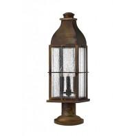 Antique Brass Spotted Glass Pillar Light 63cm