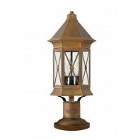 Antique Brass Traditional Triangular Pillar Light 55cm