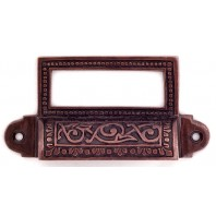 """""""Old Highstreet"""" Burnished copper hooded drawer pulls with label holder"""