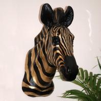 Antique Gold & Black Zebra Head Wall Bust