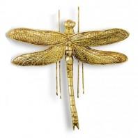 Antique Gold Effect Dragonfly Wall Art - 27cm