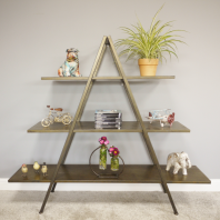 Antique Gold Finish Triangular Three Tier Shelf