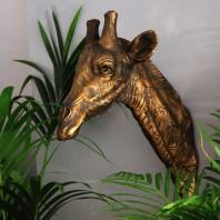 Antique Gold Giraffe Head Wall Bust