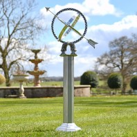 Antique Silver Armillary with Column - 105cm