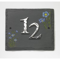 """Bachelor's Button"" Cornflower Hand Painted Slate Effect House Sign"