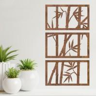 Rustic 'Bamboo' Wall Art- 3 Panels