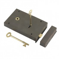 """Barrington"" Large Cast Iron and Brass Rim Lock - Left Hand Door"