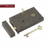 """Barrington"" Large Cast Iron and Brass Rim Lock - Right Hand Door"