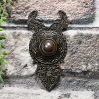 'Rosemont Hall' Exquisitely Ornate Burnished Copper Bell Push