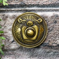 """Lambeth Hall"" Antique Brass Round Lion Bell Push"