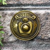 """Lambeth Hall"" Antique Brass Round Lion Bell Push"