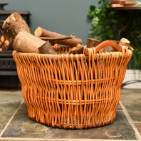 Wicker Log Basket with Natural Wooden Handles