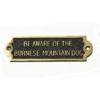 Brass Beware of the Dog Sign - Burnese Mountain Dog