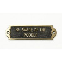"Brass ""Be Aware Of The Dog"" Sign - Poodle"