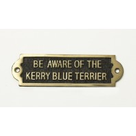 Brass Beware of the Dog Sign - Kerry Blue Terrier