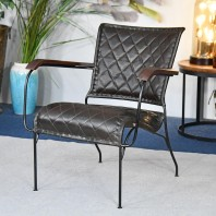 """The Harlington"" Iron, Mango Wood & Leather Chair"