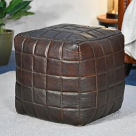 """The Cranborne"" Brown Leather Square Pouffe"