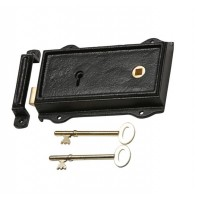 """Thorley Keep"" Black Iron and Brass Rim Lock - Right Handed"