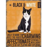 Black & White Cat Metal Sign