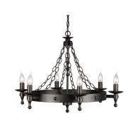 """Cawthorn Castle"" Black Blacksmith Style Eight Candle Light Chandelier"