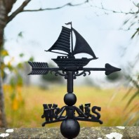 Large Black Iron Sail Boat Weathervane