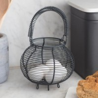 Black Wire Egg Basket with Handle by Garden Trading