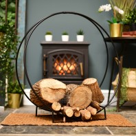 """Harewood Park"" Black Contemporary Wrought Iron Log Holder"