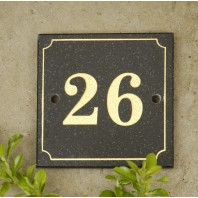 Black & Gold Granite House Sign